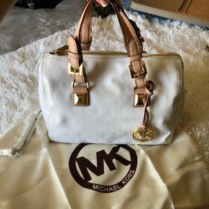 """White Michael Kors """"MK"""" Logo Satchel"""